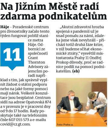 O nově otevřeném Poradenském centru v Pražském deníku…